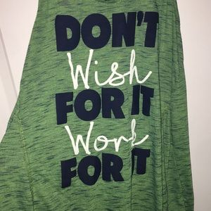 Green Motivational Workout tank top